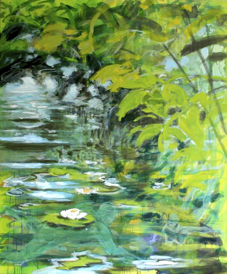 WASSERSPIELE, 2014, Acryl auf Baumwolle, 180 x 150 cm