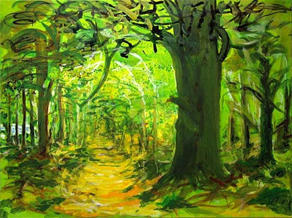 WALDWEG ZUM 7. SEE, 2009, Acryl auf Baumwolle, 150 x 200 cm