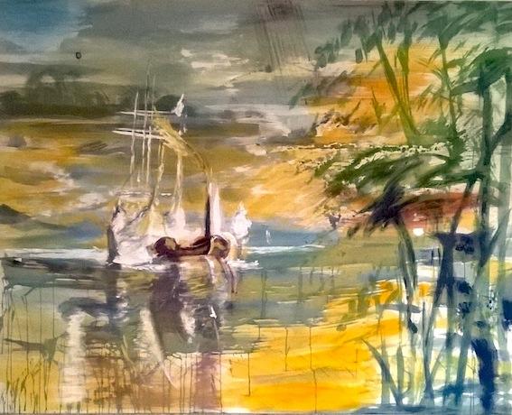 Turner am Schlosssee, 2015, Acryl auf Baumwolle, 120 x 150 cm