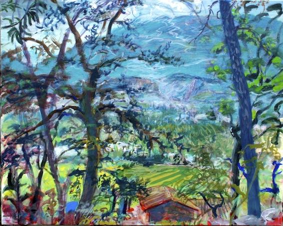 Vue Ventoux ( rocher de Winnetou ), 2014/15, Acryl auf Baumwolle, 80 x 100 cm