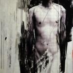 Ulrike Bolenz: Codierung, Malerei, Collage, 100 x 200 cm