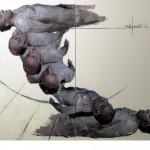 Ulrike Bolenz: Die Vermessung des Menschen, 2014, Malerei Collage, 200 x 160 cm