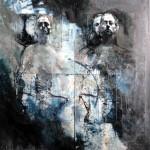 Ulrike Bolenz: Mensch-Fossil, Fototechnik, Öl und Acryl, 200 x 200 cm,
