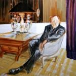 Deleau: Meine Helden- Sloterdijk privat,  2014, Acryl auf Leinwand, 130 x 130 cm