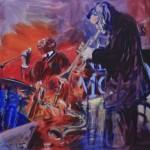 Deleau: Chet & Archie,  2014, Acryl auf Leinwand, 100 x 100 cm