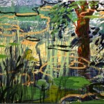Deleau: Am Teich, 2012, Acryl auf Leinwand, 160 x 200 cm