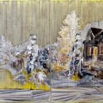 Christofer Kochs: Resonanzboden 2, 2016, gefaltete Leinwand, Tusche, Öl, 140 x 240 cm