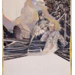 Christofer Kochs: Resonanzboden, 2016, gefaltete Leinwand, Tusche, Öl, 140 x 115 cm