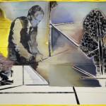 Christofer Kochs: Resonanzboden, 2016, gefaltete Leinwand, Tusche, Öl, 100 x 120 cm
