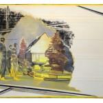 Christofer Kochs: New, 2017, gefaltete Leinwand, Tusche, Öl, 80 x 120 cm