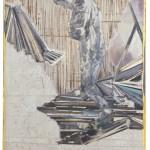 Christofer Kochs: Resonanzboden 5, 2016, gefaltete Leinwand, Tusche, Öl, 120 x 80 cm