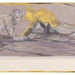 Christofer Kochs: Resonanzboden 2, 2016, gefaltete Leinwand, Tusche, Öl, 80 x 100 cm