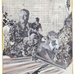 Christofer Kochs: Resonanzboden 2, 2016, gefaltete Leinwand, Tusche, Öl, 120 x 80 cm