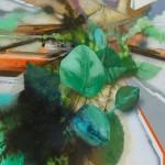 WOLFGANG ELLENRIEDER: Grünzeug, 2015, Pigment und Bindemittel auf Nessel, 175 x 140 cm