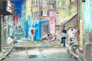 Roland Deleau: Rinnstein Tango, 2017, Acryl auf Leinwand, 150 x 100 cm