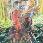 Roland Deleau: Rinnstein-Tango, 2017, Acryl auf Leinwand, 100 x 150 cm
