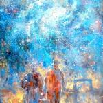 Víctor Fernández: Los inmigrantes y la noche, 2016, Öl auf Leinwand, 130 x 90 cm