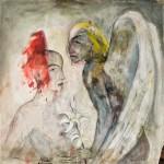 Angela Hampel: Maria und Gabriel, 2012, Mischtechnik auf Papier 100 x 100 cm