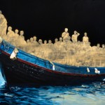 Clement Loisel: Gold and Blue 2, 2015, Öl auf Leinwand, 180 x 160 cm