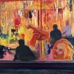 Reinhard Stangl, Burlesque Tabeldance 2005, Öl auf Leinwand, 115 x 145 cm