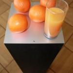 Ottmar Hörl, Orangenstillleben, 2017, 125 x 23 x 23 cm