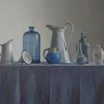 Till Warwas, Kannen und Flaschen- Blau, 2017, 80 x 100 cm