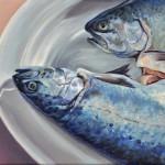 Christine Reinckens, Mitgehangen-Forellenpaar, 24 x 30 cm