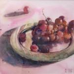 Maya Nnishiyama, Trauben rot Aquarell 29 x 29