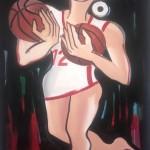 Elvira Bach, Basketball aus Liebe, 2017, 140 x 100 cm