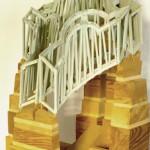 Fredder Wanoth, Die Unentschlossenheit Otto Wagners beim Entwurf der Wiener Ring-und Vorortbahnen , Holz, Feuerwerksstäbe, bemalt, 60 x 40 x 40 cm, 2002