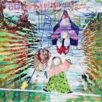 Kristina Girke, Utopie mit Clowns, 2014, Öl und Lack auf Leinwand, 200 x 270 cm