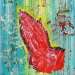 Kristina Girke, Selbst mit fremden Händen, 2008, Tusche und Öl auf Leinwand, 90 x 80 cm