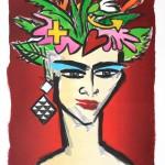 Kopf, Farblithografie übermalt, 76 x 53 cm