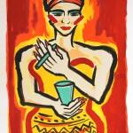Untitled, Farblithografie übermalt, 76 x 53 cm
