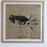 not my president (dog), Serie Herzstück 2016-18, Zeichnung auf Papier, 60 x 60 cm