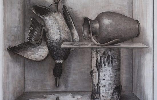 Narziß,  175x220 cm,  Kohle auf Leinwand